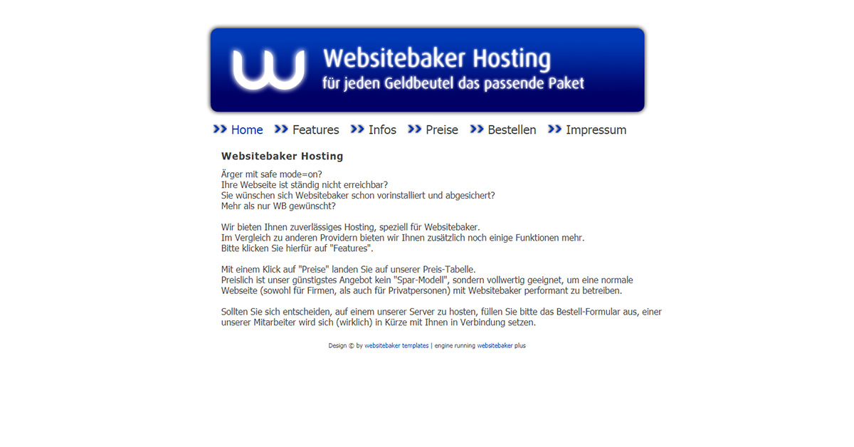 Websitebaker Hosting